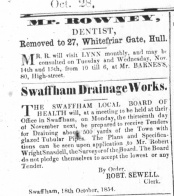 1854 October 28th Mr Rowney moves to Hull from No 80