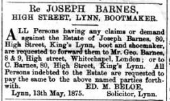 1875 May 22nd Joseph Barnes @ 80