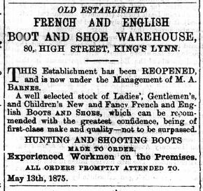 1875 May 22nd M A Barnes @ No 80