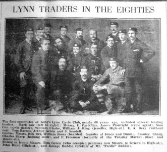1881 approx Traders inc W J King (5th from left back) (reprinted 1941 Feb 28th)