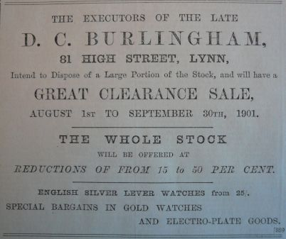 1901 Aug 9th Burlinghams execs sale @ 81