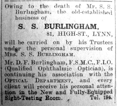1927 Jan 14th Notice re S S Burlingham