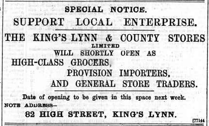 1897 March 12th KL & County Stores @ No 82