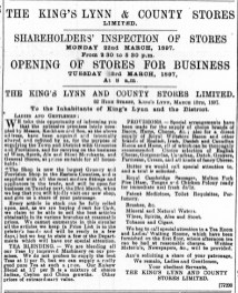 1897 March 19th KL & County Stores @ No 82