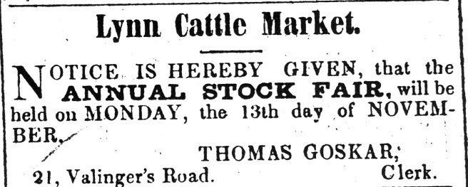 1848 Oct 28th Thomas Goskar clerk to cattle mkt