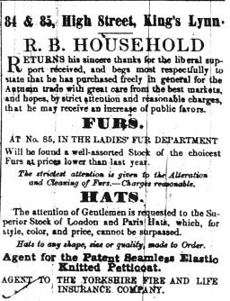 1852 25th Sept R B Household