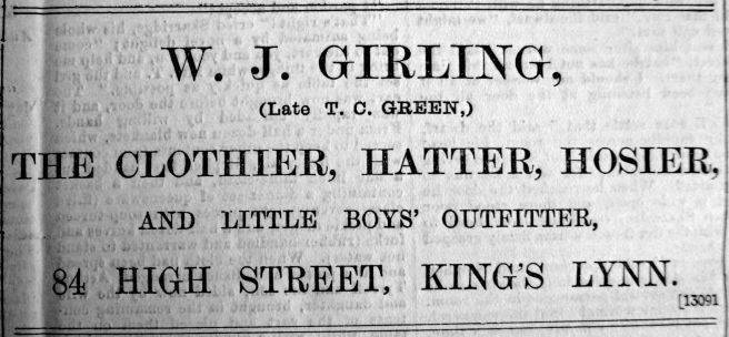 1903 Dec 25th W J Girling takes over