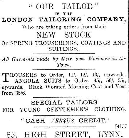 1883 31st March 83 London Tailoring co