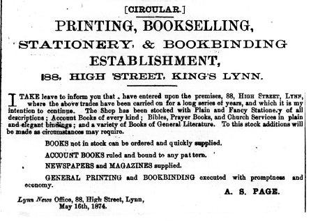 1874 July 4th A S Page Lynn News