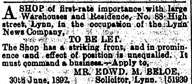 1892 July 2nd No 88 Lynn News to let