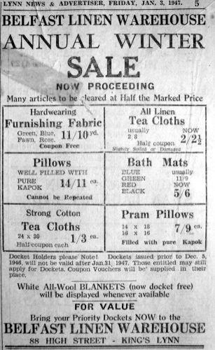 1947 Jan 3rd Belfast Linen Sale @ 88