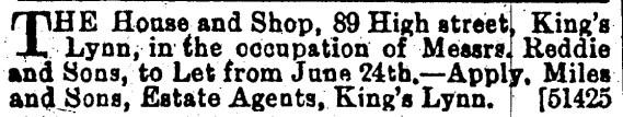 1892 June 11th Reddies shop to let 89