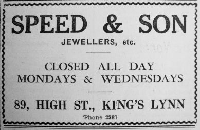 1941 Oct 24th Speed & Son close Mons & Weds