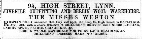 1874 April 25th The Misses Weston @ 95