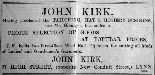 1901 Nov 29th John Kirk moves in cont