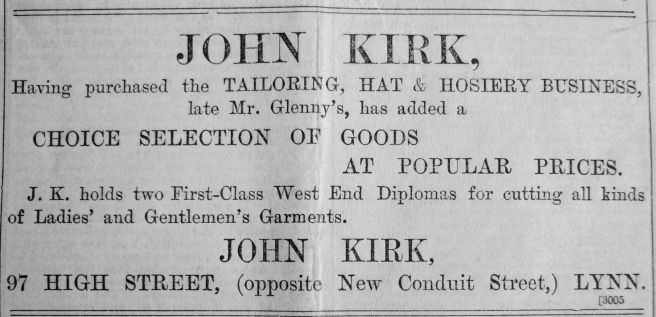 1901 Nov 29th John Kirk moves in
