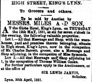 1881 23rd April T W Cooke