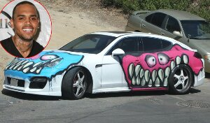 Chris Brown Covers His $90K Porsche in Graffiti-Photos