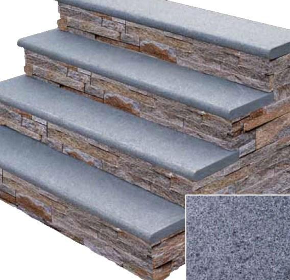 Stonehenge Granite Stair Treads – Kings Building Material | Exterior Stone Stair Treads | Stone Slab | Grey Flagstone Step | Solid Weathered | Carpet Metal Rail Wood Cap | Brick