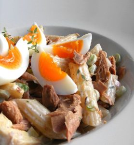 Hard Boiled Eggs, Canned Tuna and Your Homemade Pasta Salad provide a great high-protein snack or meal to keep you going!