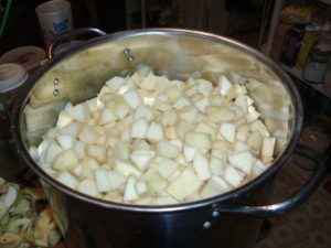 Chopped apples in large pot