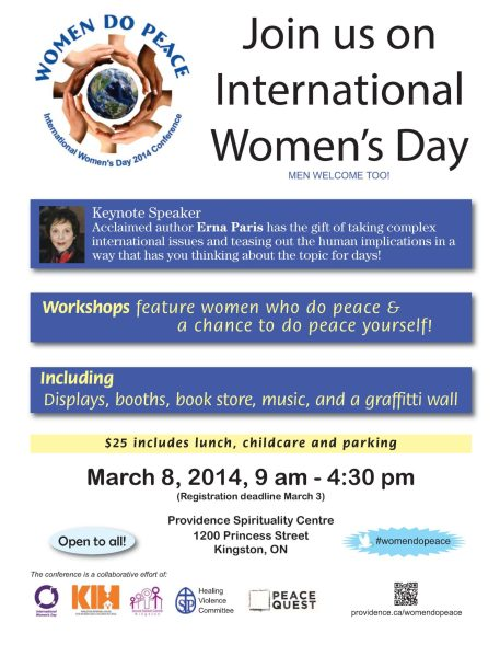 Poster outlining details of Women do Peace conference on March 8