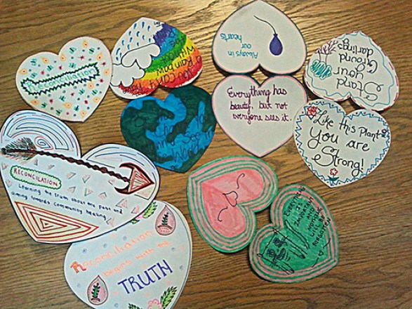 Examples of hearts created for the Heart Garden Project.