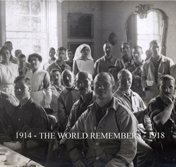Promo image for The World Remembers featuring a black and white image of soldiers and nurses from WWI