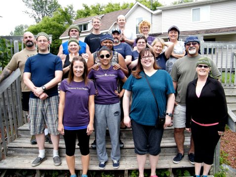 Monica (rear, far right) at the first Canadian Veterans Yoga Project Healing Retreat in 2015.