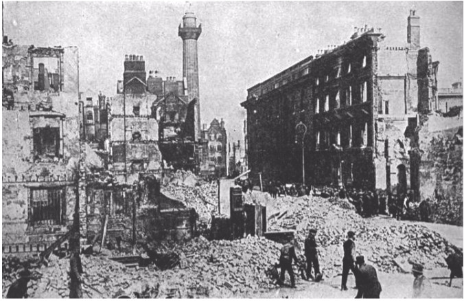 """""""The Centre Cannot Hold"""" (W.B. Yeats): Downtown Dublin, after the Rising."""