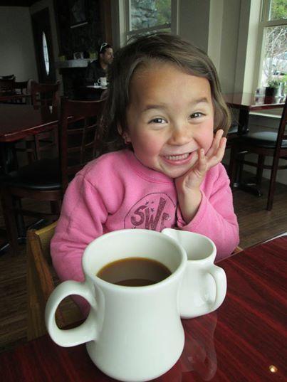 claire having coffee