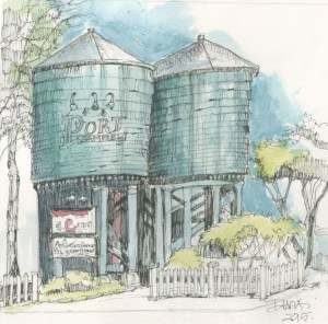 Port Gamble Water Towers - color