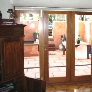 Hobart blinds up at french doors