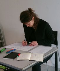 Stefanie Bauerochse working at the conference: 8 hours of solid drawing through a conference thinking through the state of exception thinking with the pen on the spot where thinking takes place.