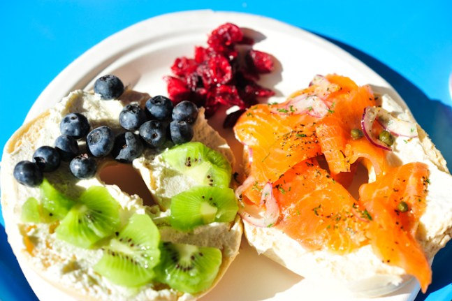 Typical options: kiwi, lox, bagels, blueberries & crainsins