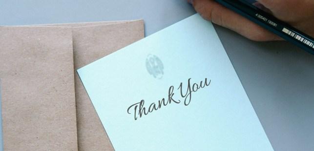 感謝の気持ちを書いたメモ用紙
