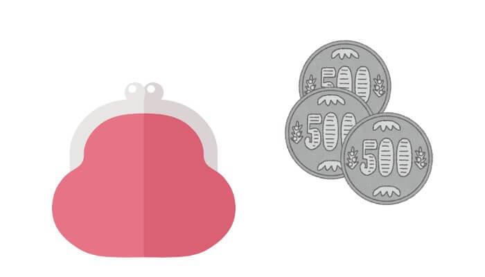 500円玉と財布のイラスト