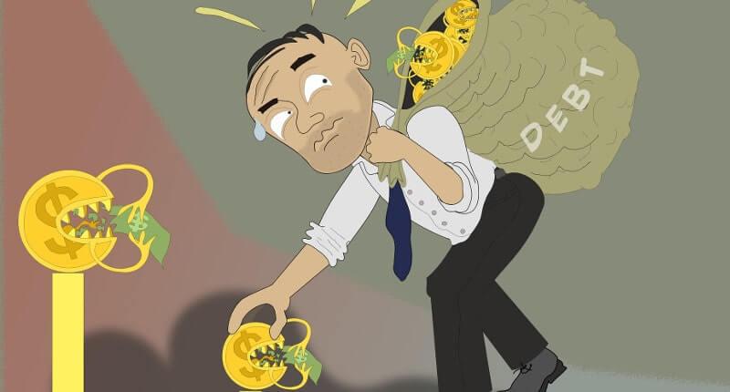 債務に苦しむ男性のイラスト