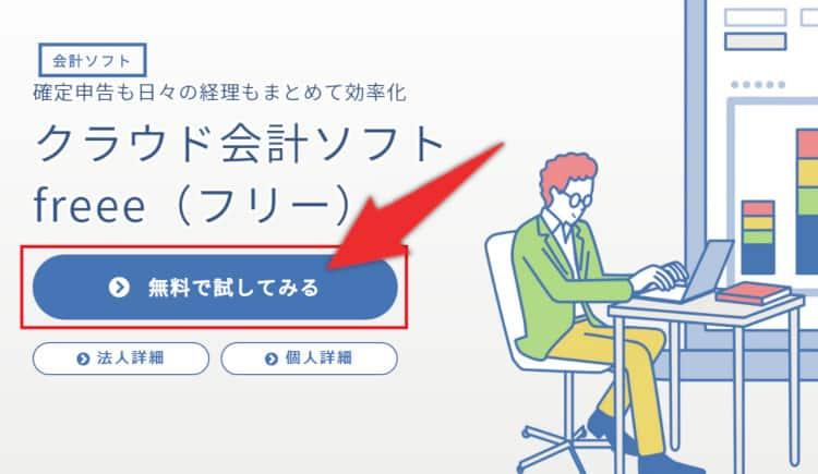 会計freeeの登録手順1「無料で試してみる」をクリック
