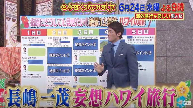 日本テレビ系列「今夜くらべてみました トリオ THE 海外旅行が恋しい男と女!」で「長嶋一茂の妄想ハワイ旅行」というコーナーがあるそうです。