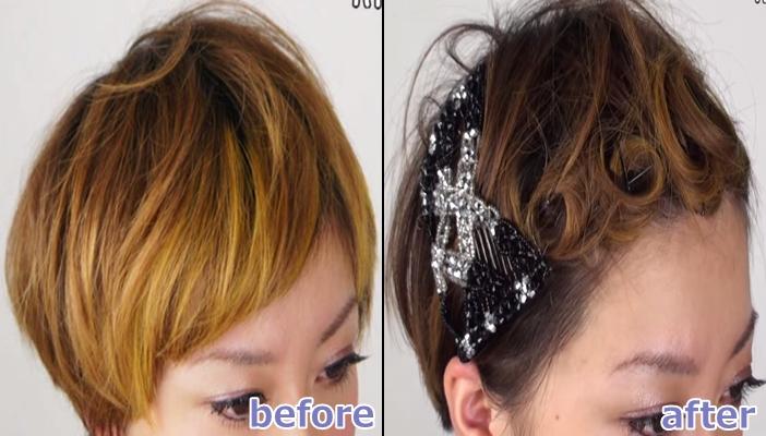 浴衣 髪型 ショート ヘアアレンジ7