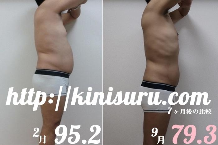 ダイエット 7ヶ月目の比較画像 横