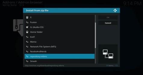 Select repository.xvbmc