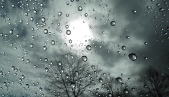 Raindrops on window with thunderstorm outside