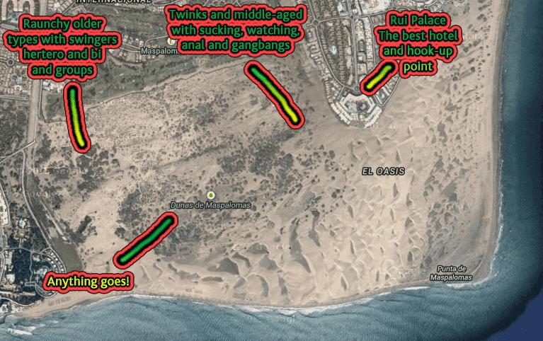 Hetero, swingers, bi, cruising, gay and fkk sex action map of Maspalomas dunes in Gran Canaria. Hottest sex location in Europe