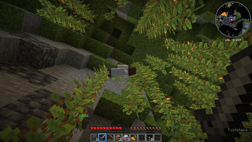 My corpse (without armor) high up among the greenery growing from the ceiling.
