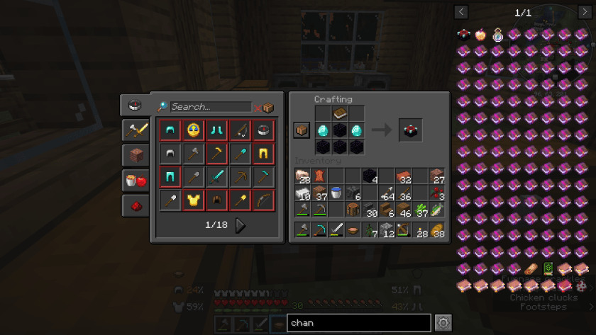 Crafting screen in Minecraft, with the materials for the enchantment table in place.