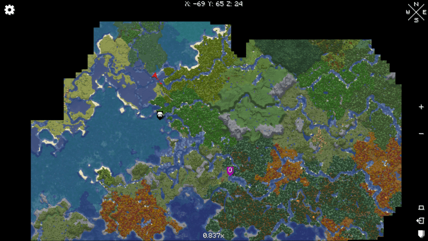 """Map of what I've """"discovered"""" thus far. It shows the loaded chunks of the game, a setting that can be adjusted."""