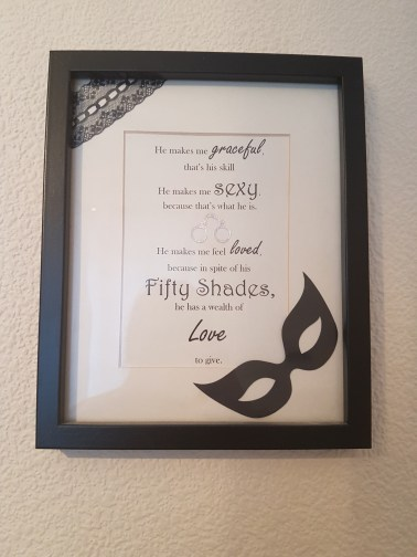 Fifty Shades inspired die cut handmade craft frame with black masquerade mask,