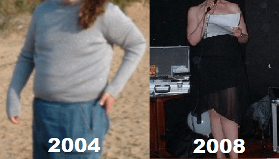 A side-by-side comparison of my dramatic weight loss. I weight 15.5st in 2004 and 10st 7lbs in 2008.